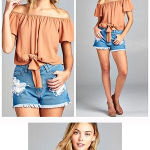 Tops - Dusty apricot off shoulder Top🍑